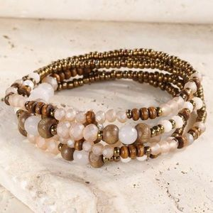 Dash of Pink Jewelry - Wood + Stone Wrap Bracelet